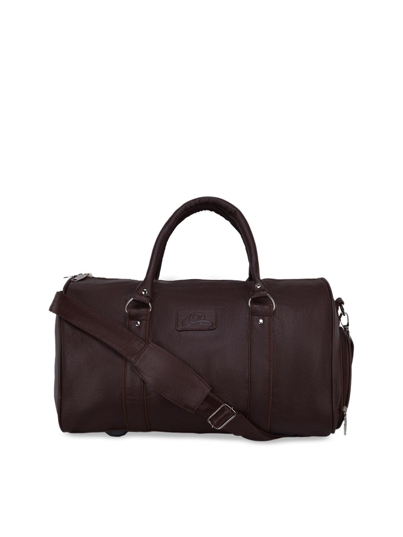 Leather World Unisex Brown Solid Medium Duffle Travel Luggage Bag