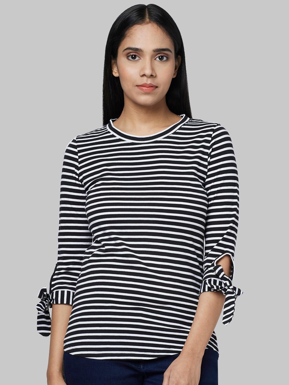 Park Avenue Woman Women Black Striped Round Neck T shirt