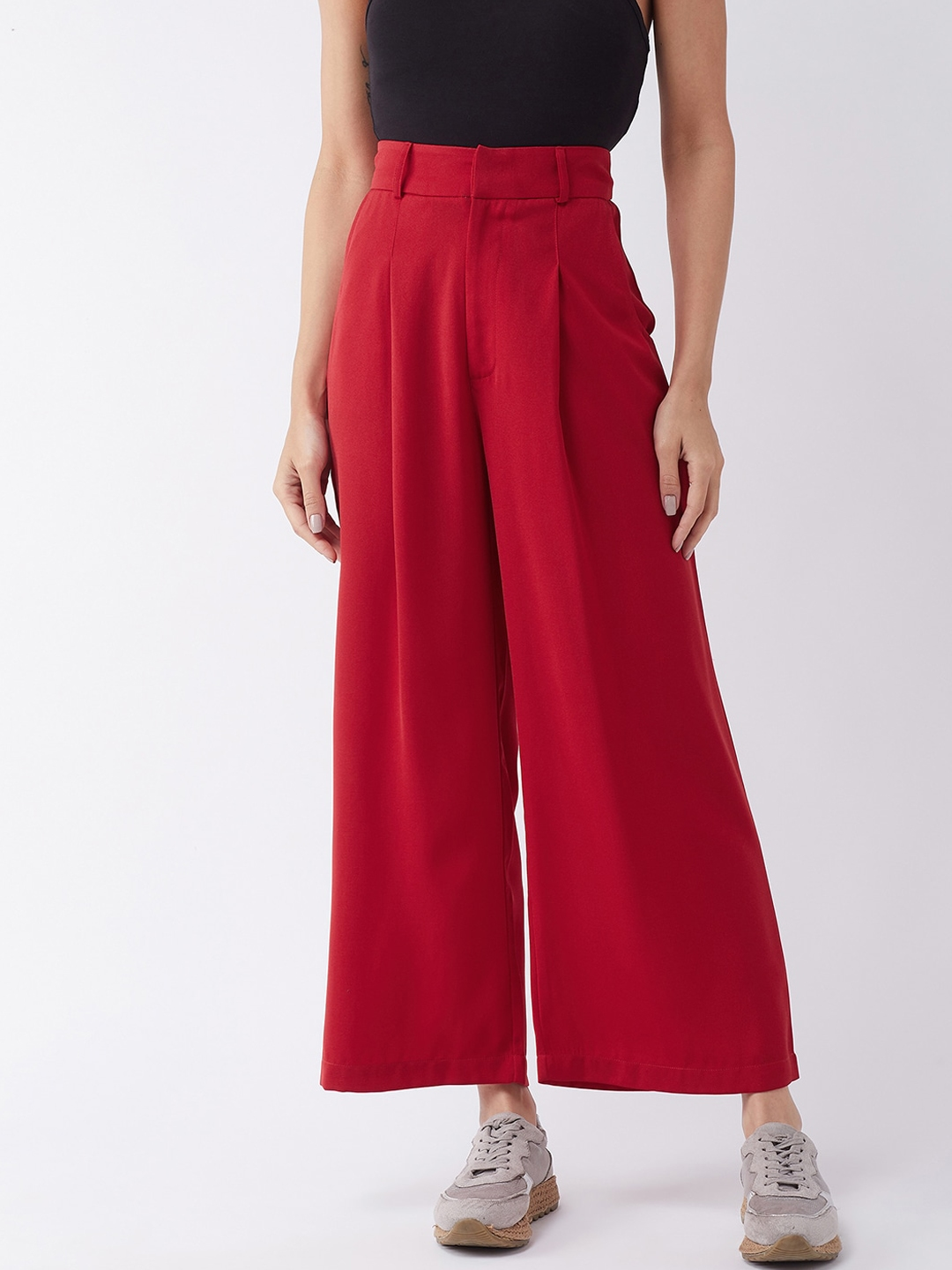 MAGRE Women Red Flared Solid Parallel Trousers