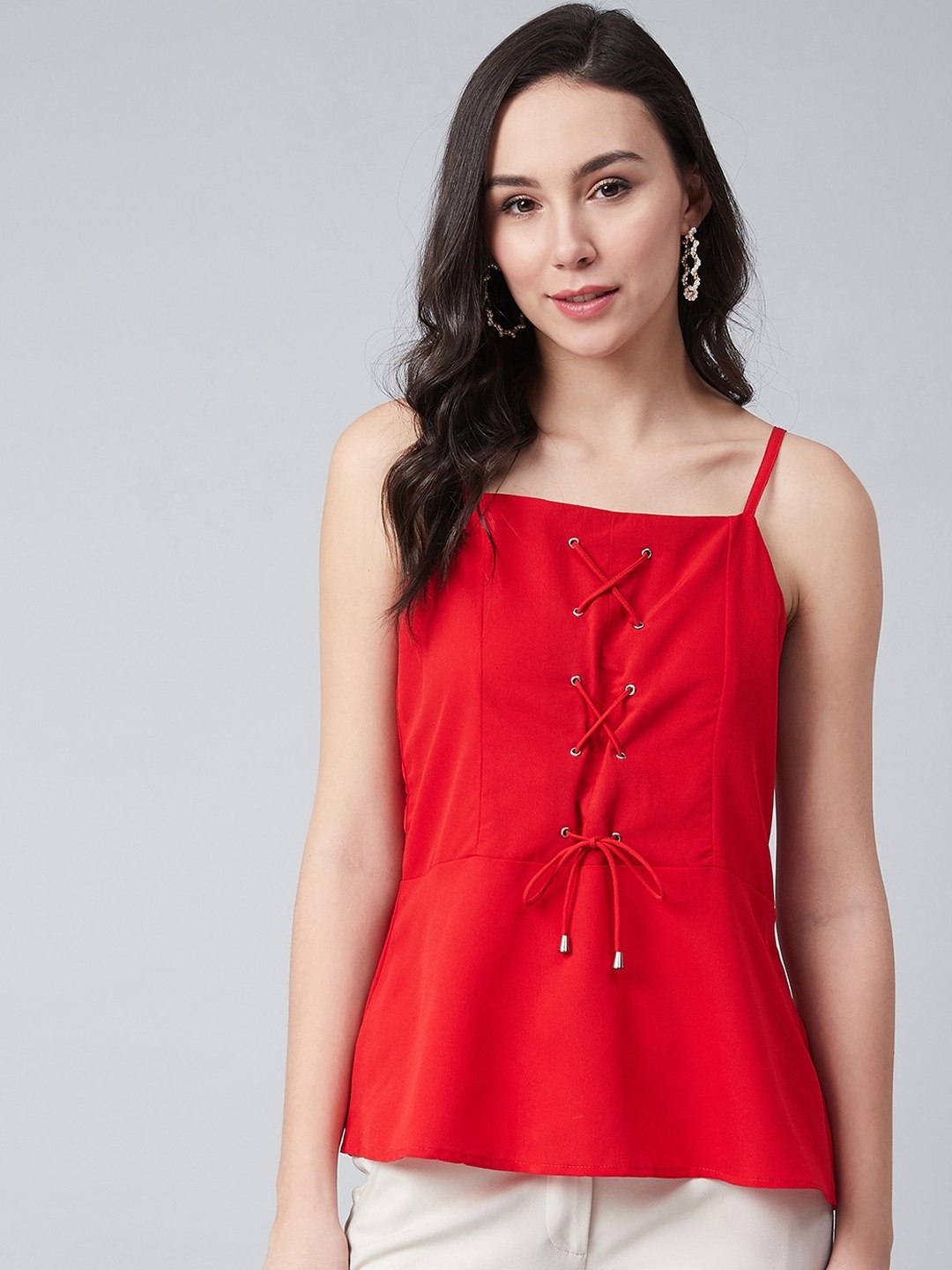 RARE Women Red Solid Top