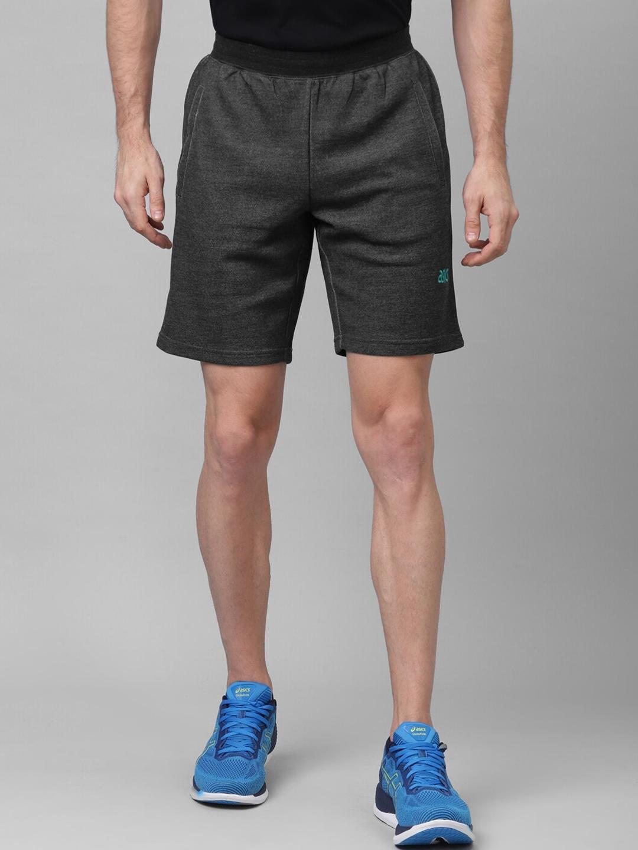 ASICS Men Charcoal Grey Solid Regular Fit Sports Shorts