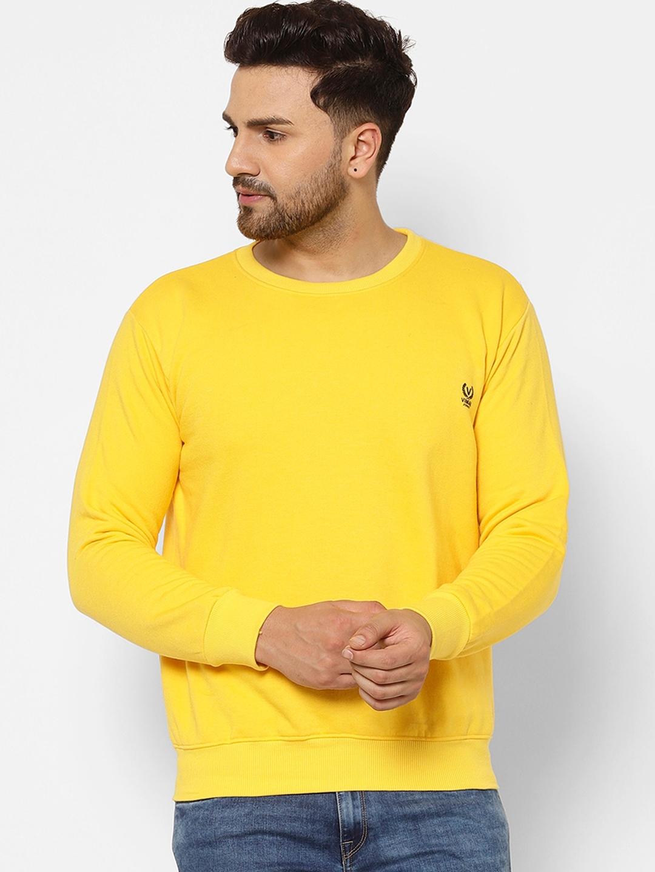 VIMAL JONNEY Men Yellow Solid Sweatshirt