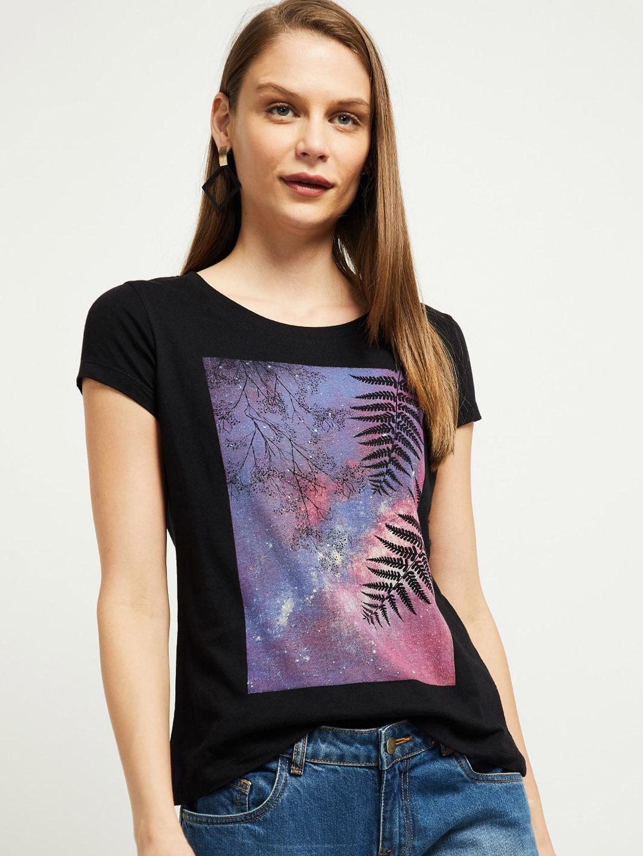 max Women Black Printed Boat Neck T shirt