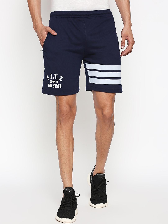 FiTZ Men Navy Blue   White Printed Regular Fit Sports Shorts