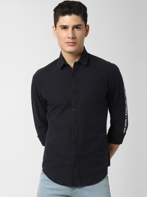 Peter England Casuals Men Black Regular Fit Printed Casual Shirt