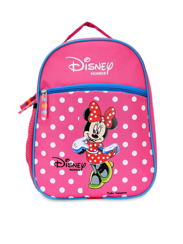 Kuber Industries Kids Pink   White Minnie Mouse Printed Waterproof Backpack