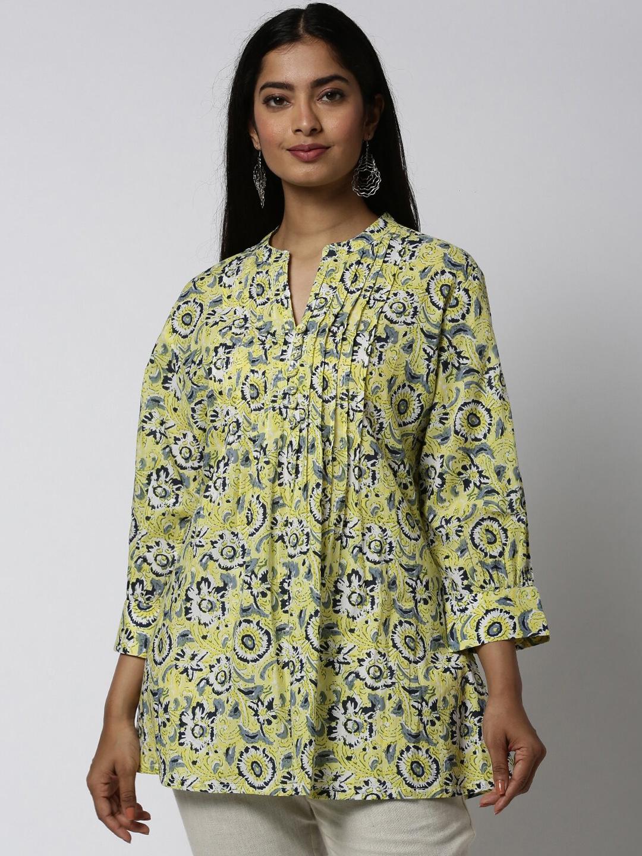 Soch Women Yellow   Navy Floral Print Tunic