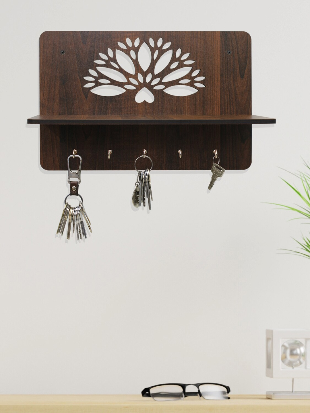 RANDOM Brown Textured MDF Wooden Wall Shelf with Key Holders