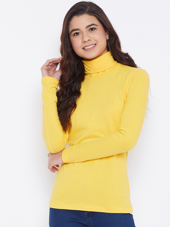 Hypernation Women Yellow Solid Turtle Neck T shirt