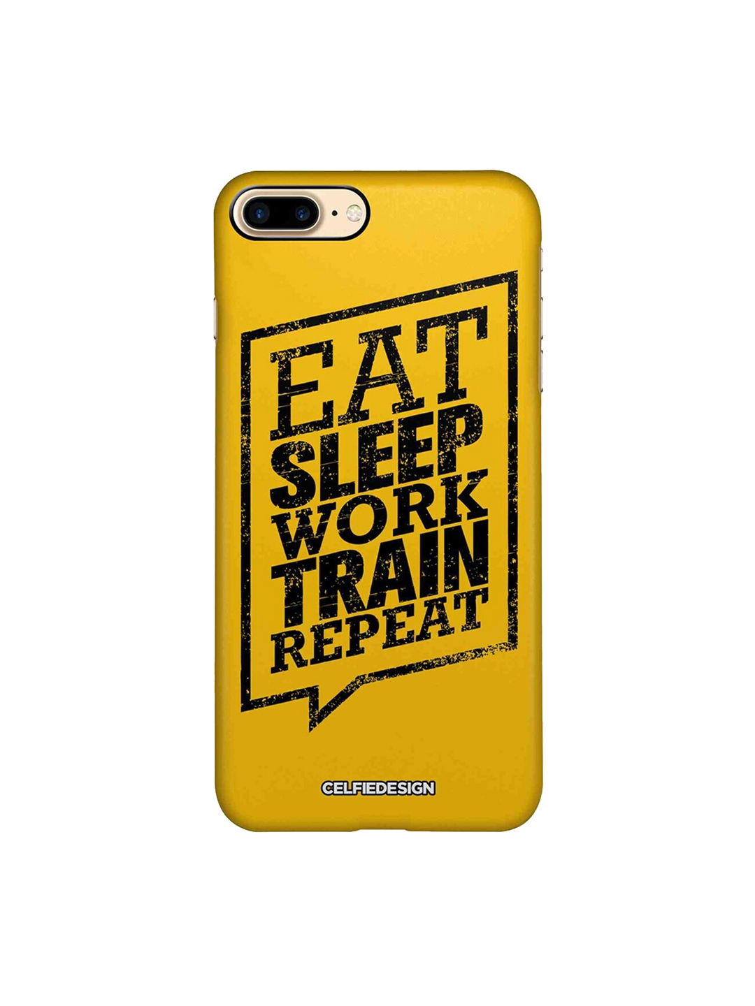 CelfieDesign Yellow   Black Cover Signature Eat Sleep Apple iPhone 8 Plus Back Cover
