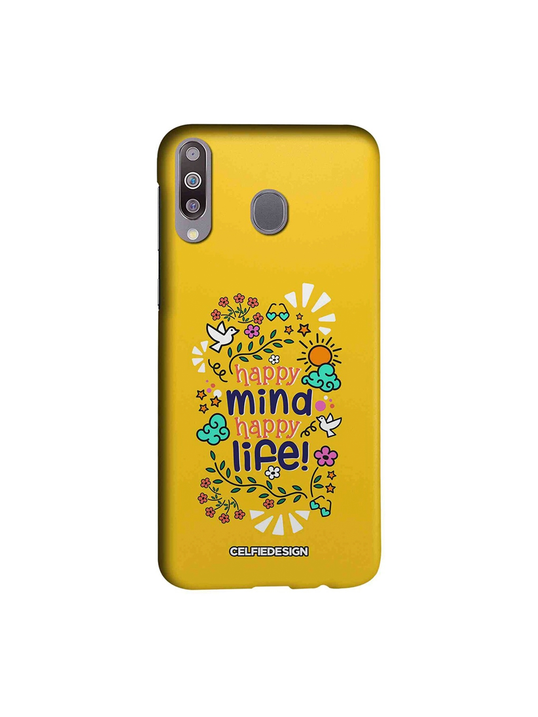 CelfieDesign Yellow Happy Mind Happy Life Quirky Samsung Galaxy M30 Mobile Back Cover