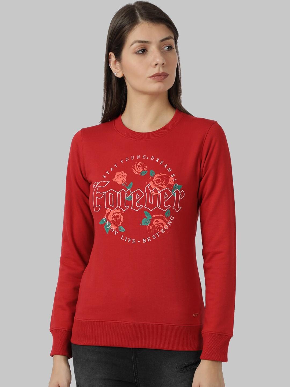 Park Avenue Woman Women Red Printed Sweatshirt