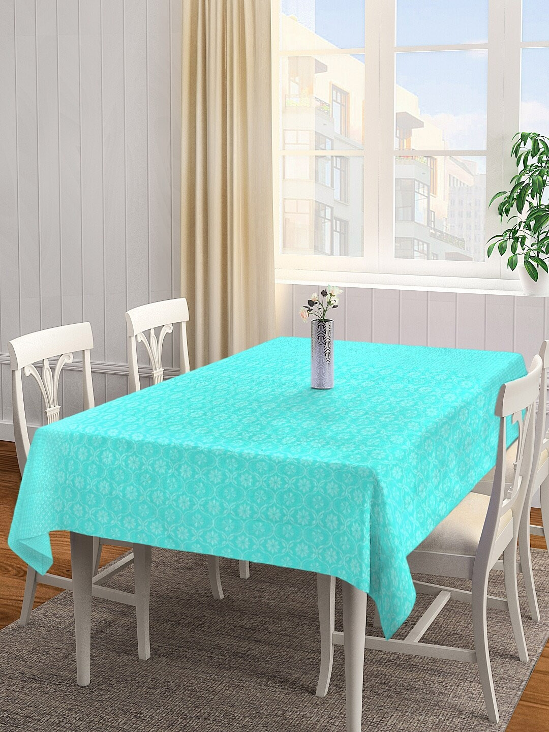 NEUDIS Turquoise Blue Printed 6 Seater Table Cover