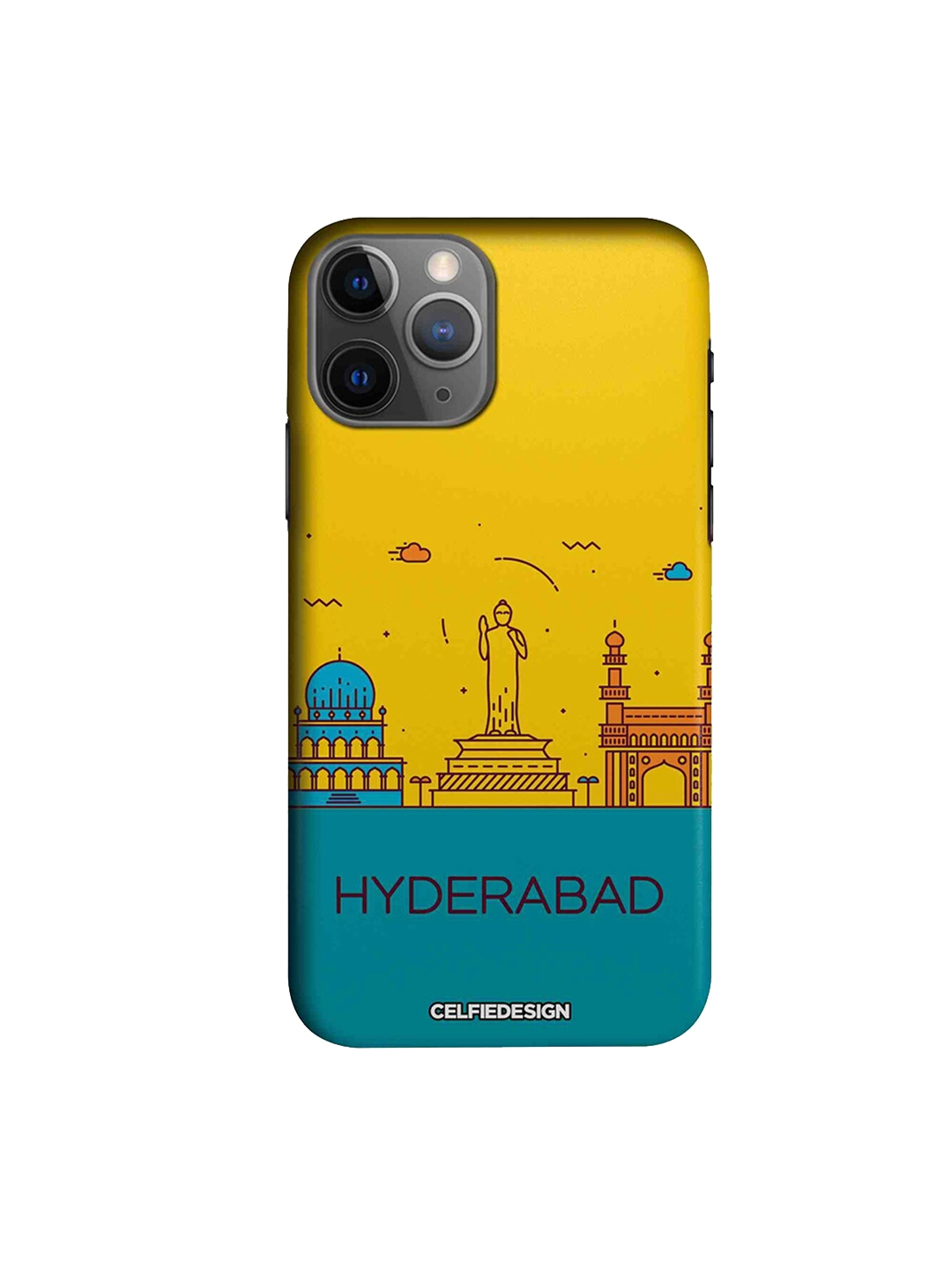 CelfieDesign Yellow   Blue Hyderabad Skyline Quirky Sustainable Apple iPhone 11 Pro Max Mobile Back Cover