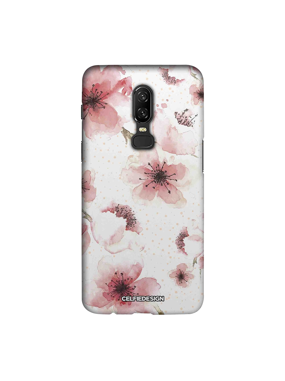 CelfieDesign Unisex White   Peach Floral Printed OnePlus 6 Mobile Sustainable Back Cover