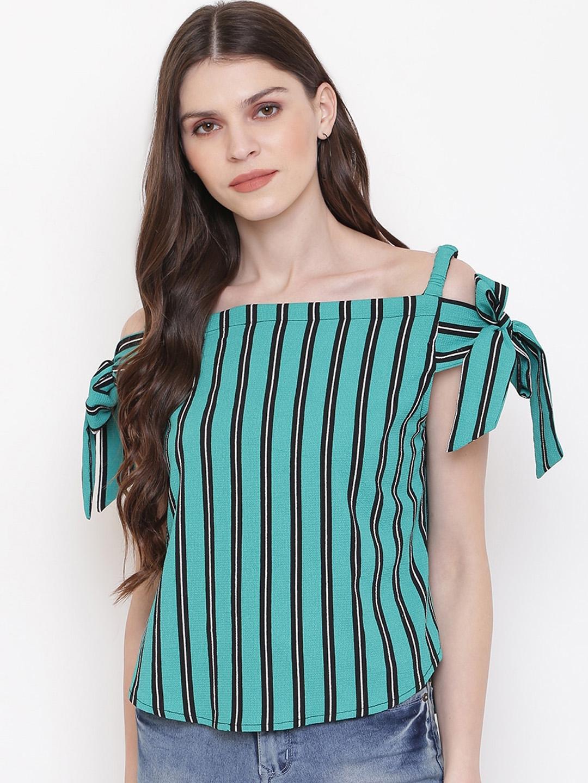 Mayra Women Green Striped Top