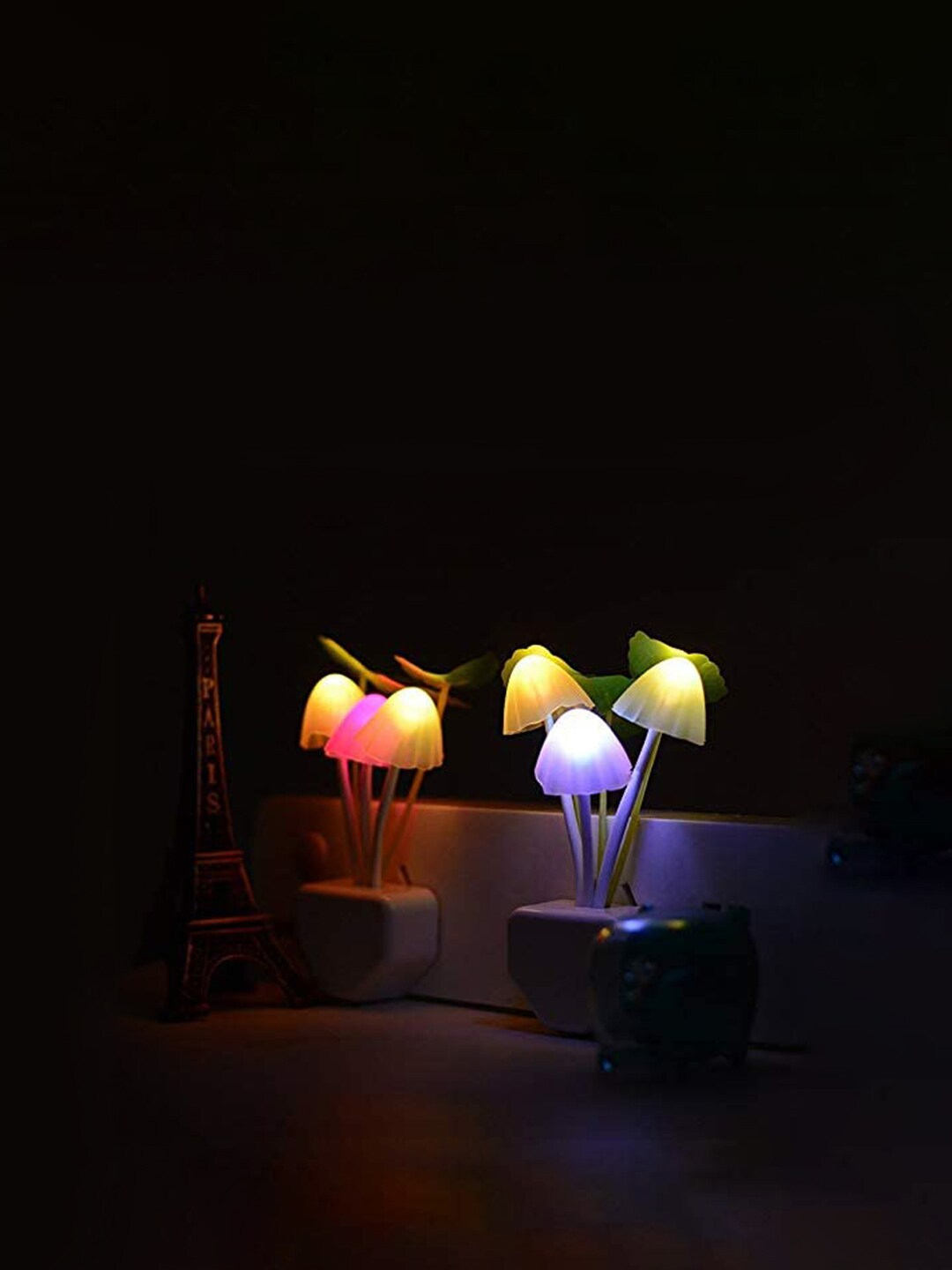 Archies Set Of 2 Green   Pink LED Mushroom Lights