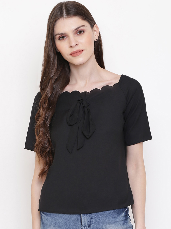 Mayra Women Black Solid Top