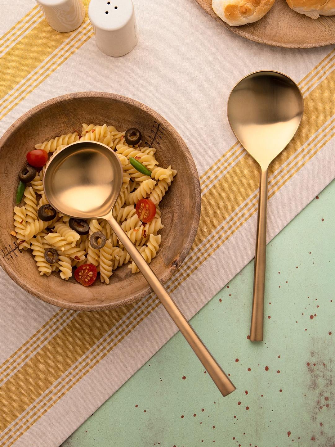ellementry Set of 2 Gold Toned Stainless Steel Serving Spoons