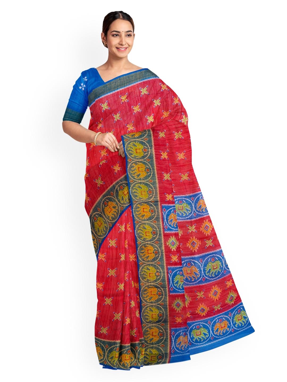 KLM Fashion Mall Red   Blue Art Silk Printed Saree