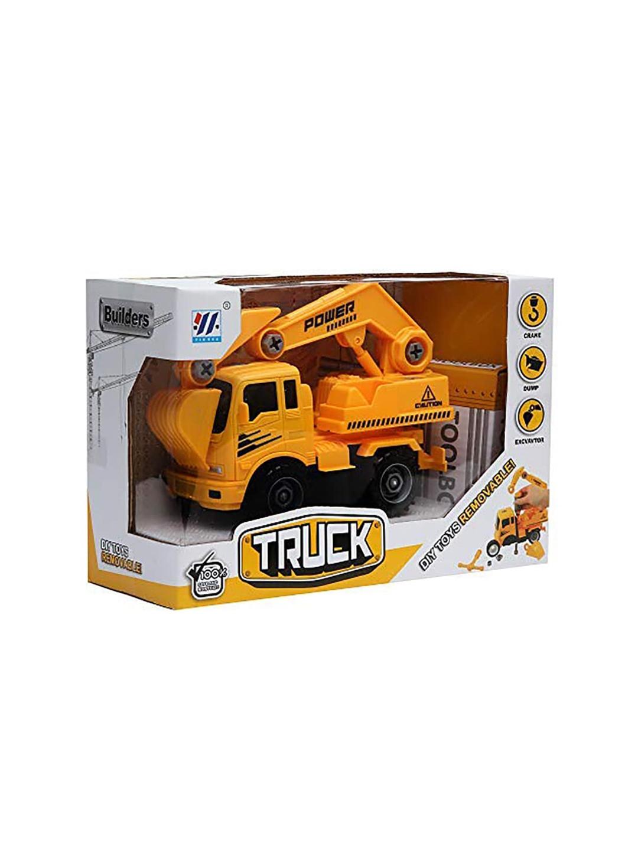 Wembley Toys Kids Yellow   Black DIY Friction Construction Excavator Vehicle Truck