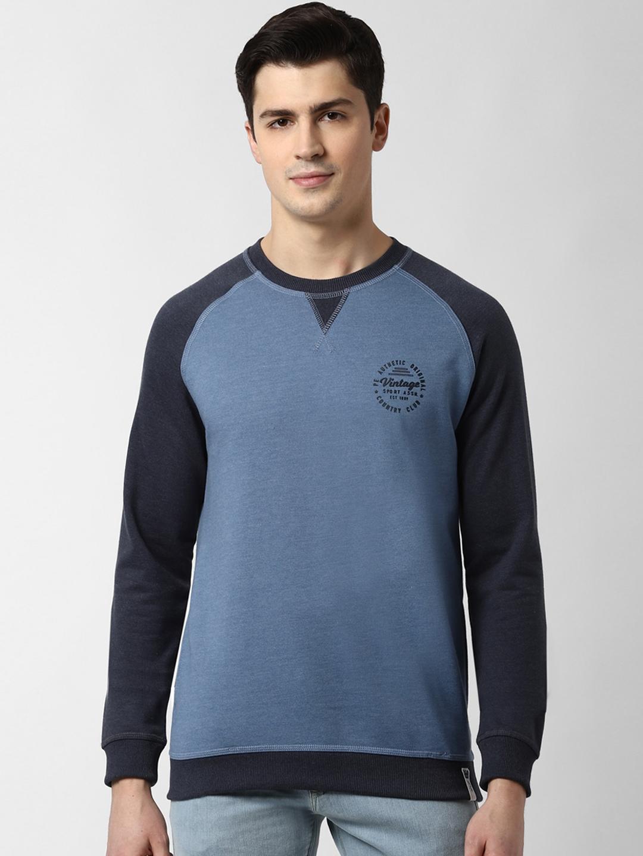 Peter England Casuals Men Blue Solid Sweatshirt