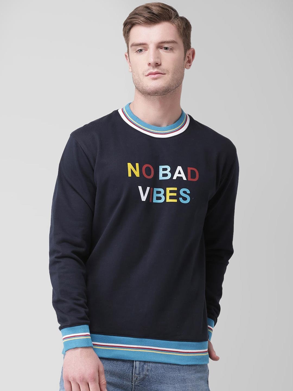 GRIFFEL Men Navy Blue Printed Sweatshirt