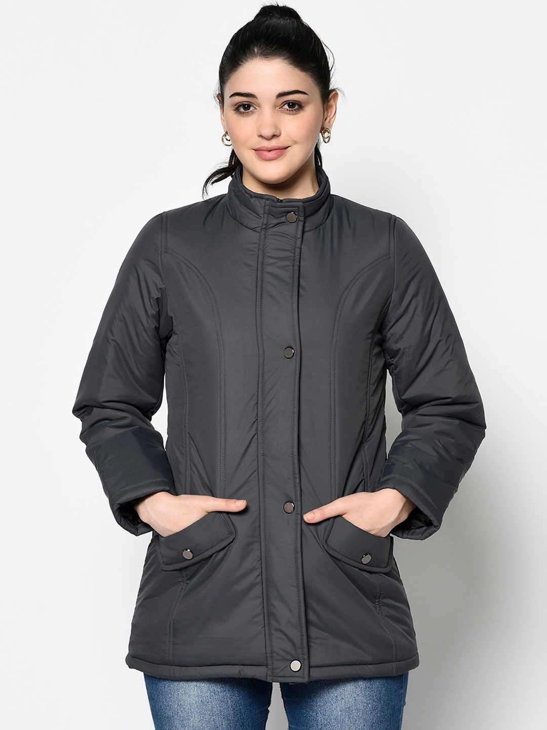 Trufit Women Charcoal Solid Insulator Padded Jacket