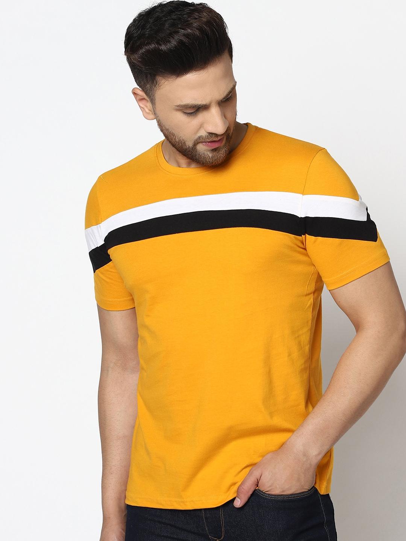 GESPO Men Mustard Yellow Striped Round Neck Tshirt