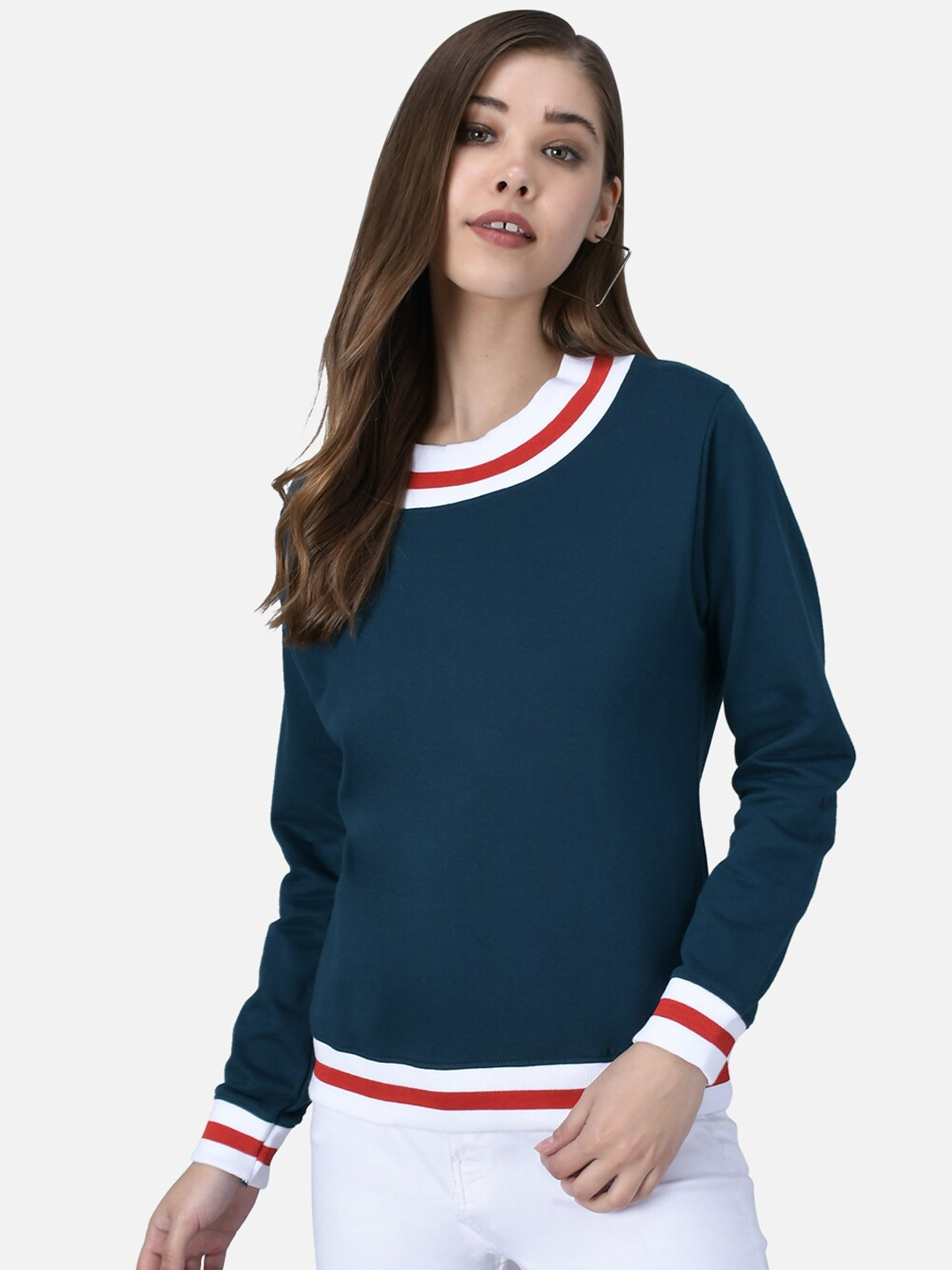 The Dry State Women Blue Solid Sweatshirt