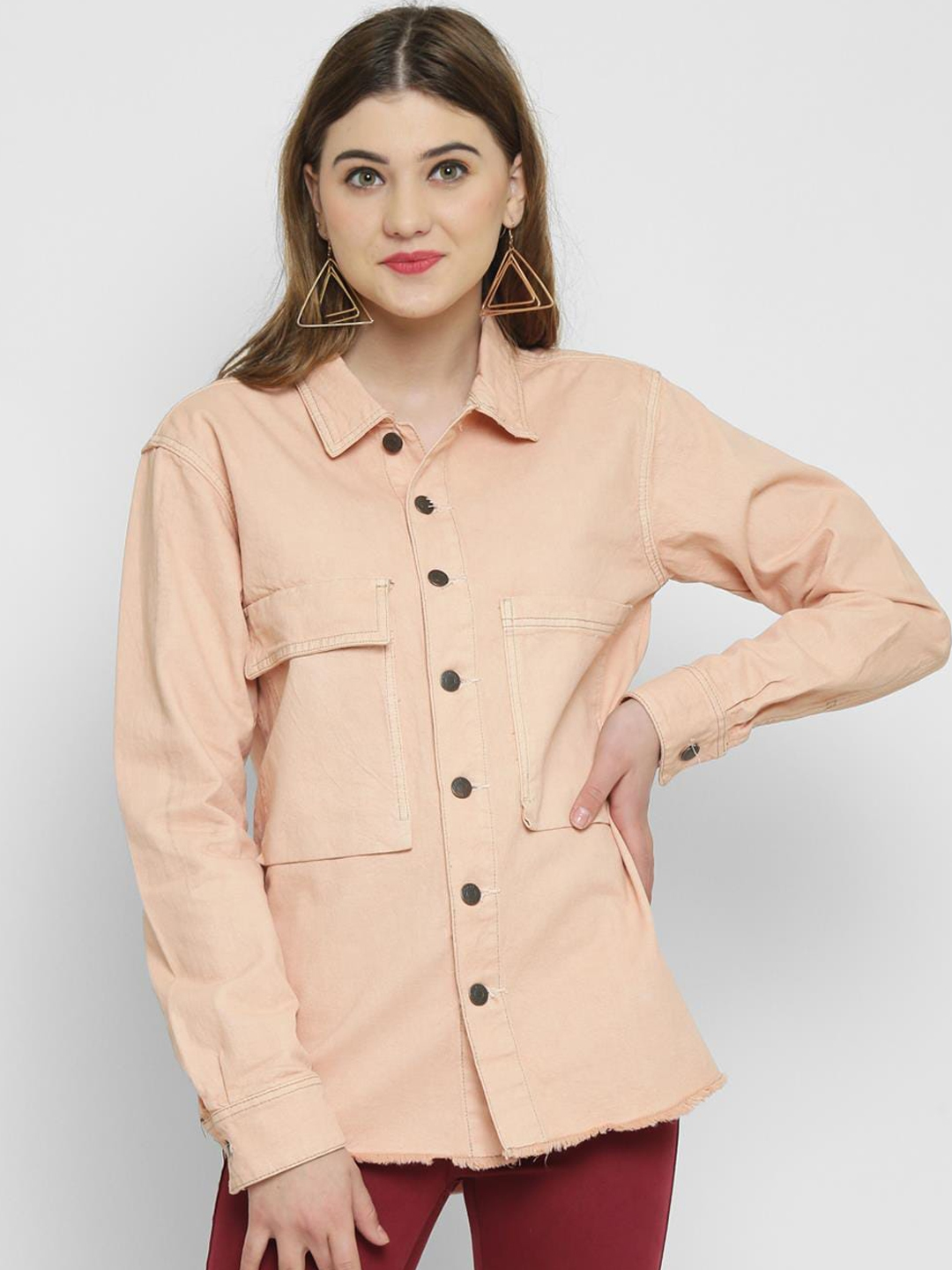 Kotty Women Pink Solid Tailored Jacket