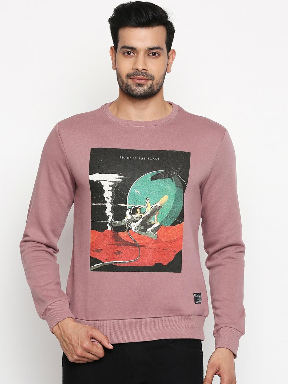 People Men Pink Printed Sweatshirt