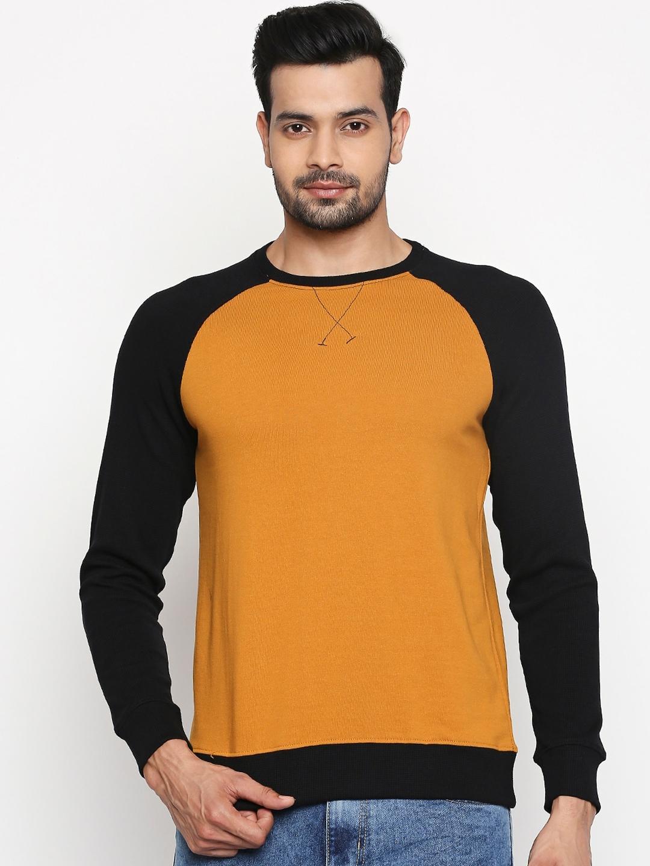 People Men Mustard Yellow Solid Cotton Sweatshirt