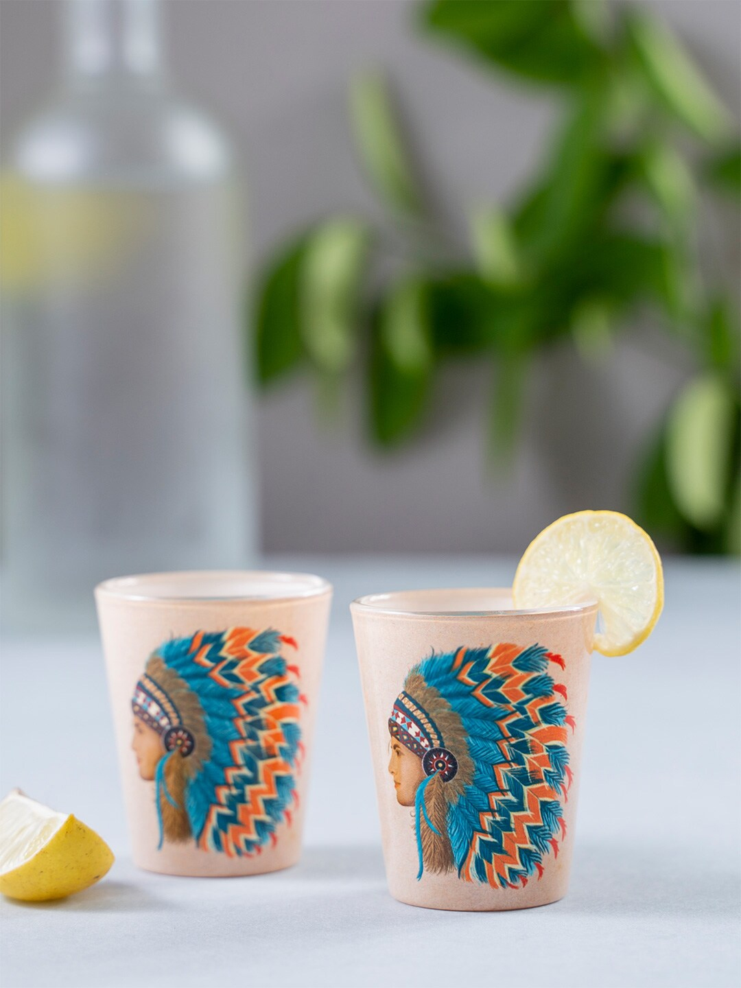 KOLOROBIA Set Of 2 Pink   Blue Red Indian Male Shot Glasses 30 ml