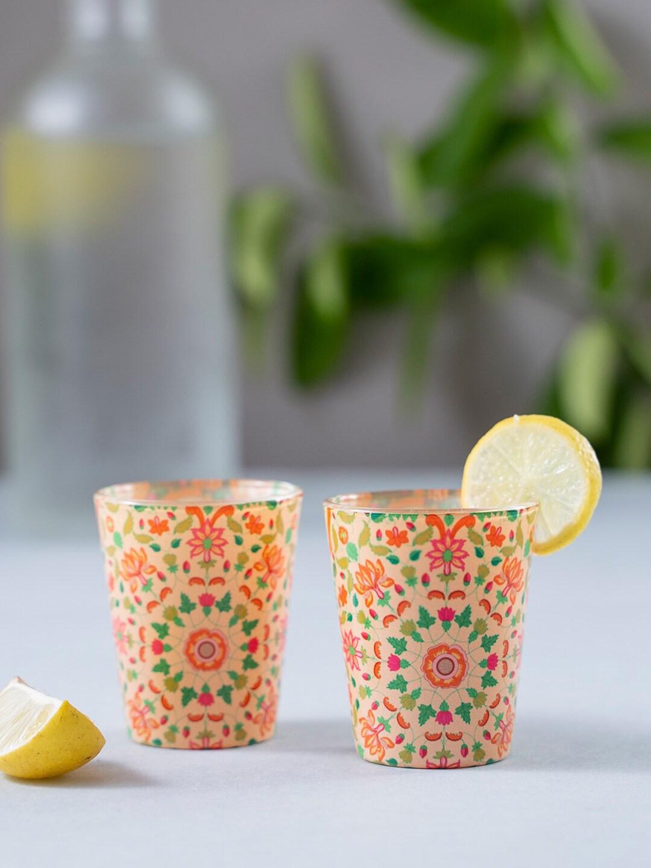KOLOROBIA Set of 2 Beige   Red Mughal Blooms Shot Glass 30 ml
