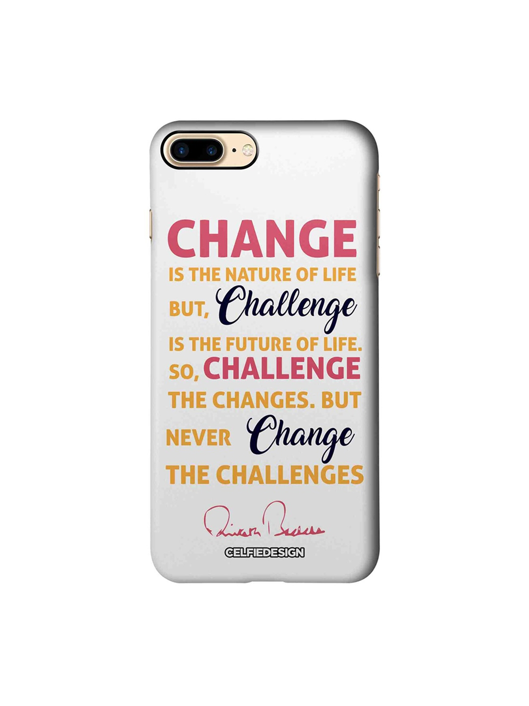 CelfieDesign White   Yellow Printed iPhone 7 Plus Back Cover