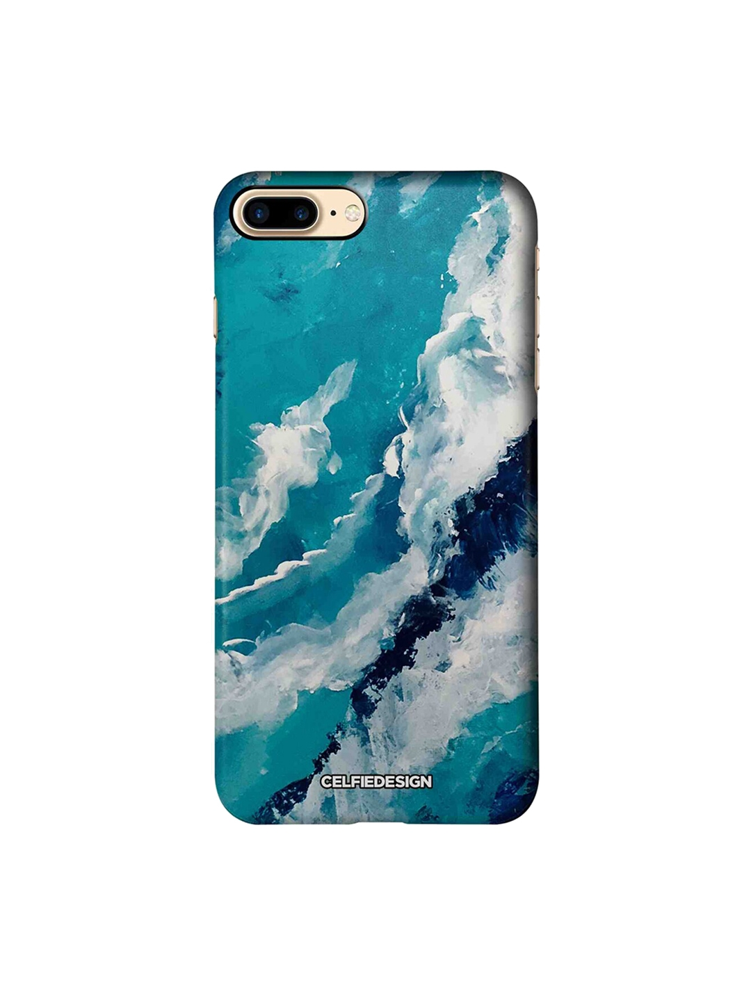 CelfieDesign Turquoise Blue   White Frothy Waves Base 501 Quirky Sustainable Apple iPhone 7 Plus Back Cover