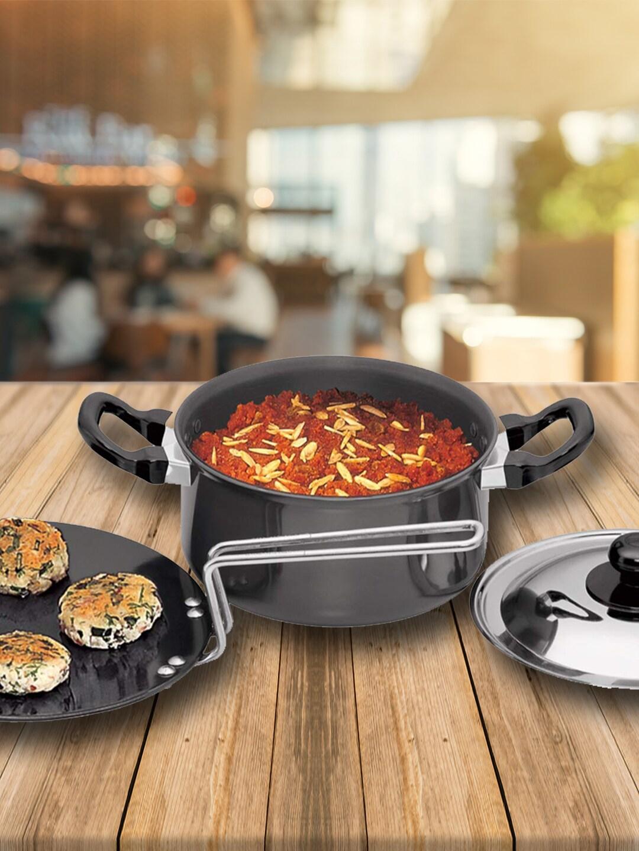 Hawkins Black Solid Futura Hard Anodised 2 Pieces Cookware Set