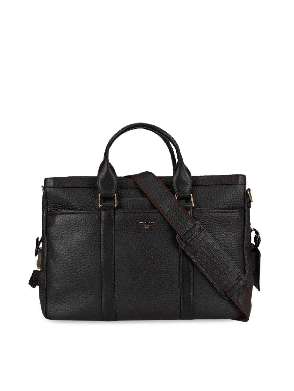 Da Milano Unisex Black Solid Leather 13 Inch Laptop Bag