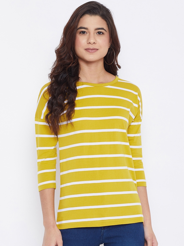 Hypernation Women Yellow Striped Round Neck T shirt