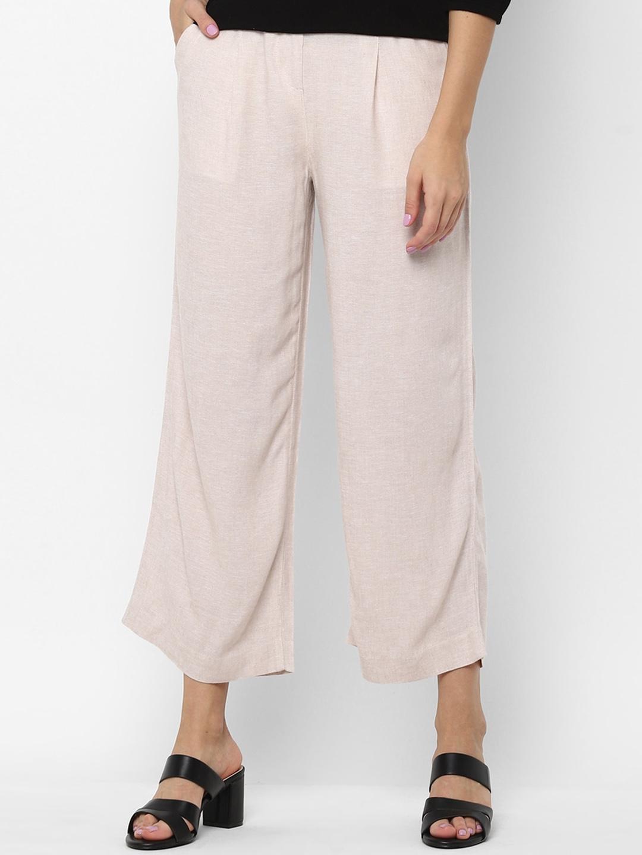 Allen Solly Woman Women Beige Regular Fit Parallel Trousers