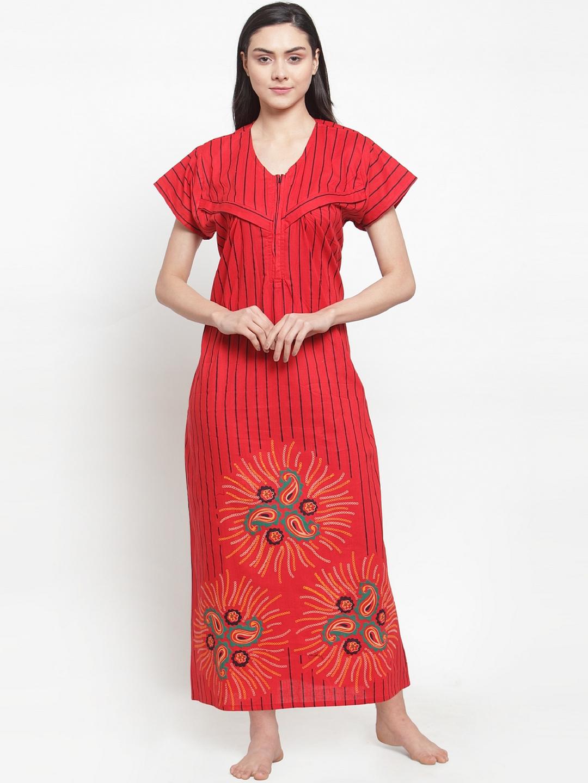 Secret Wish Red   Black Striped Maternity Nightdress NT E213 825
