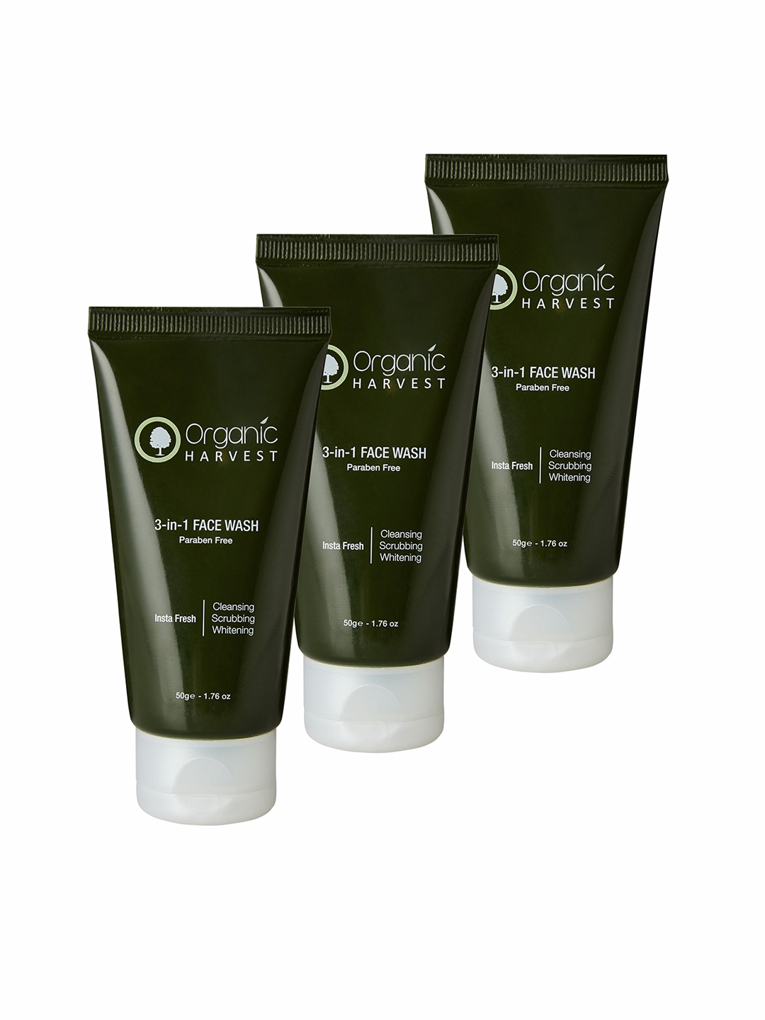 Organic Harvest Pack of 3 3 in 1 Face Wash, 50 gm