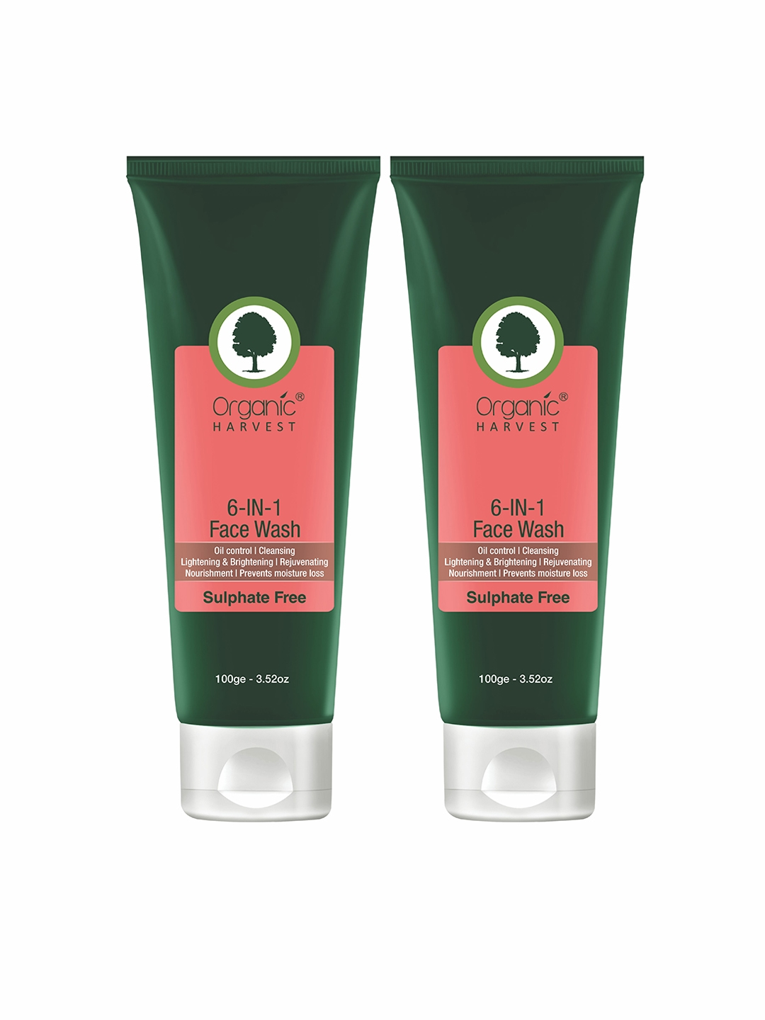 Organic Harvest Pack of 2 Face Wash   6 in 1  Sulphate Free  100 ml