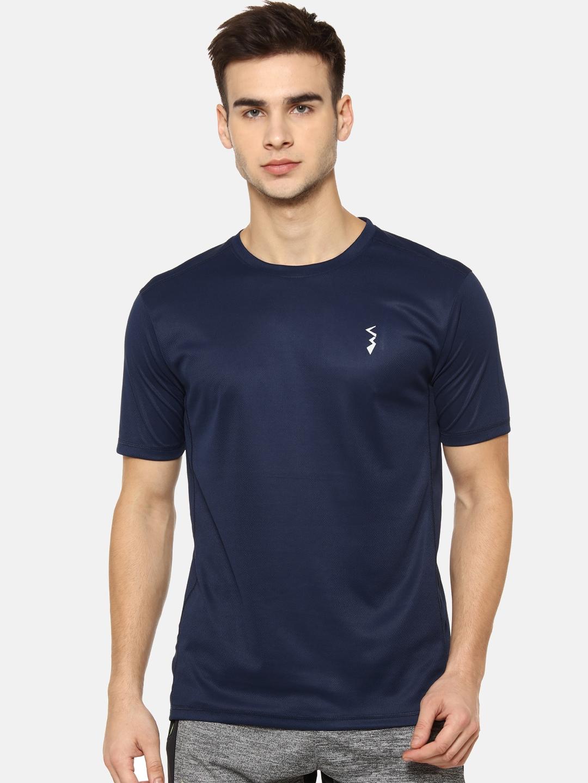Campus Sutra Men Navy Blue Solid Round Neck T shirt