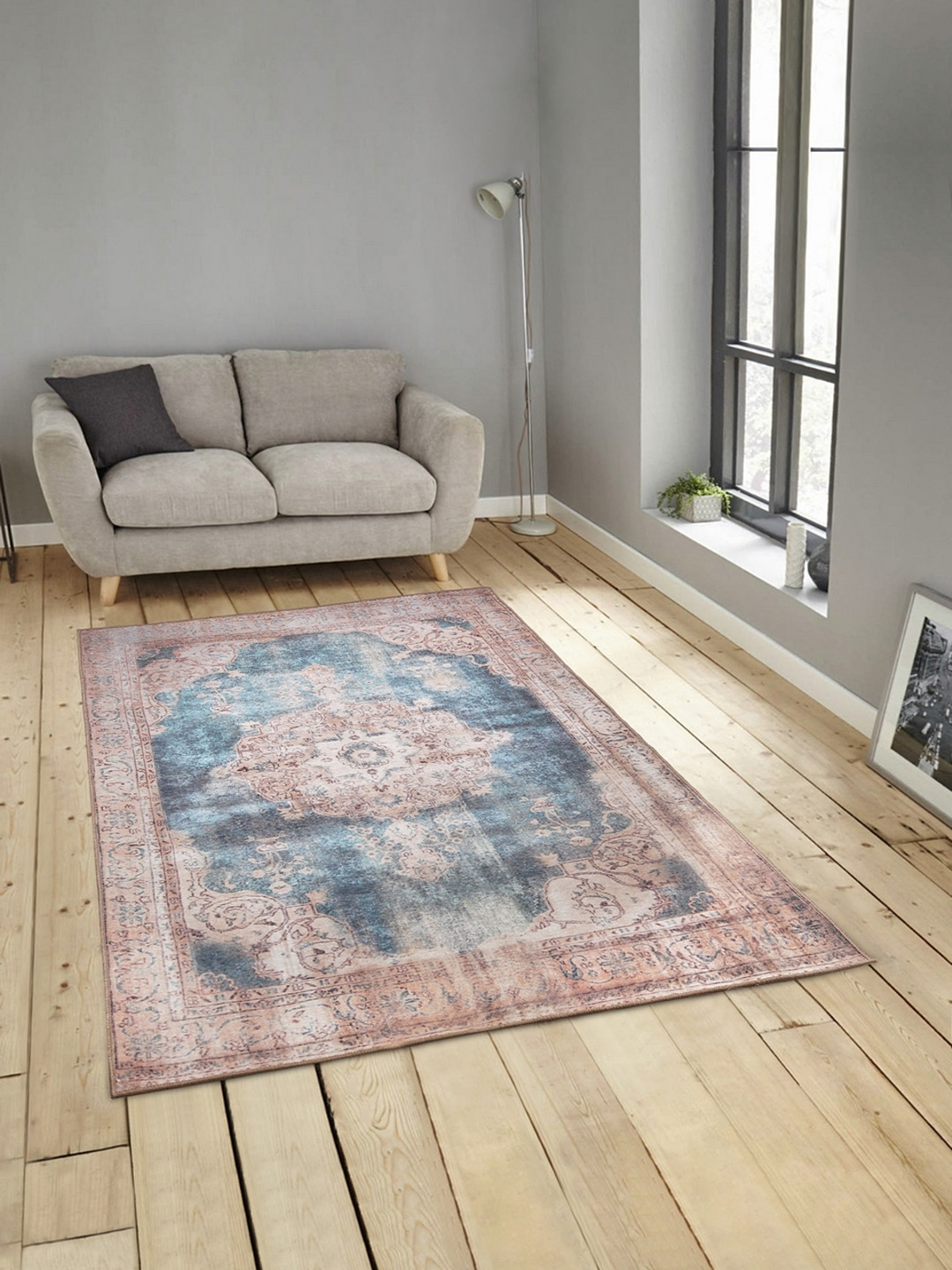 ROMEE Blue   Brown Printed Polyester Chenille Anti Skid Carpet