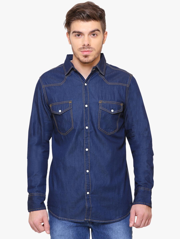 Southbay Men Blue Smart Slim Fit Solid Denim Shirt