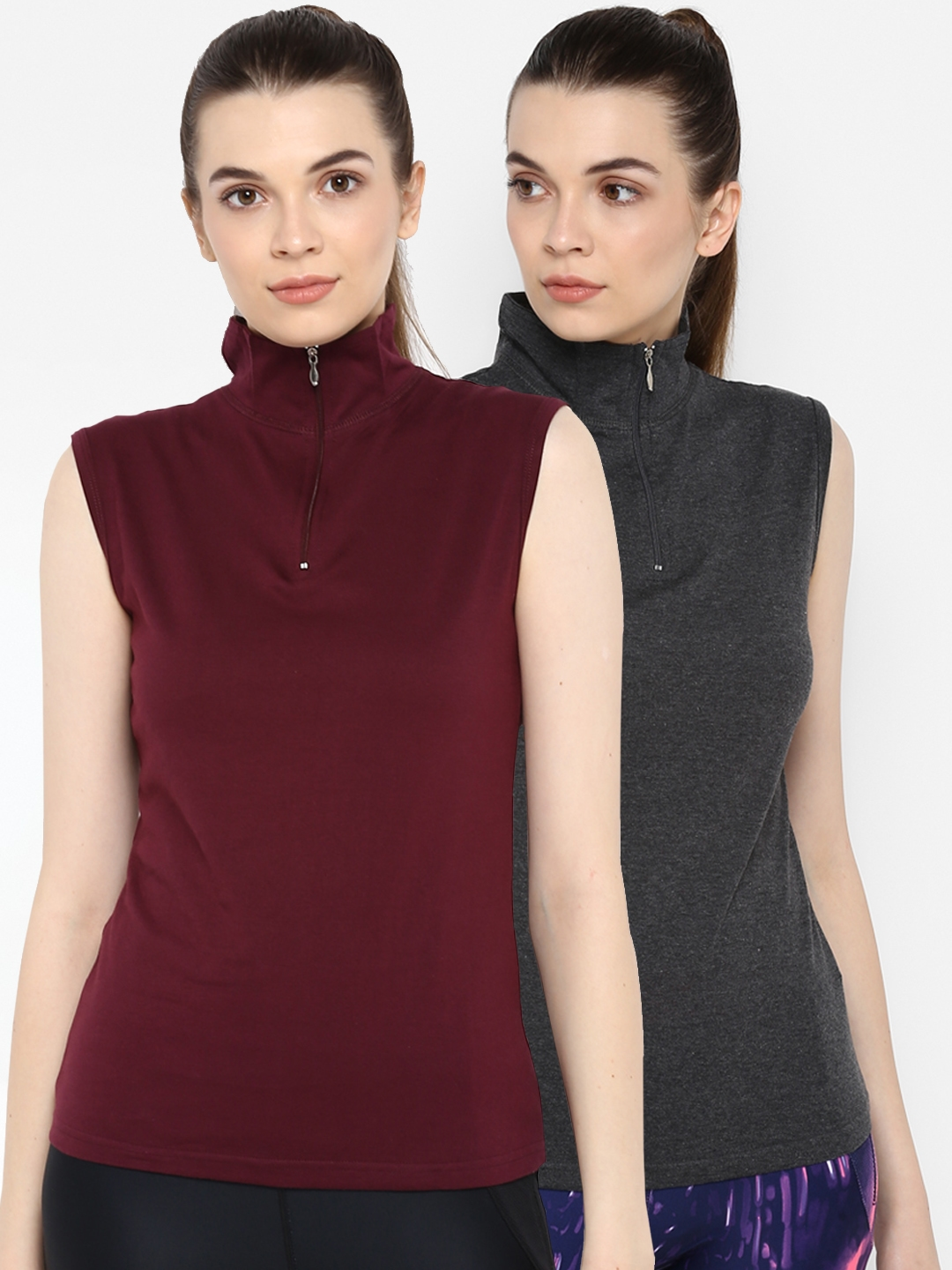appulse Women Pack of 2 Solid Mock Neck Slim Fit T shirts