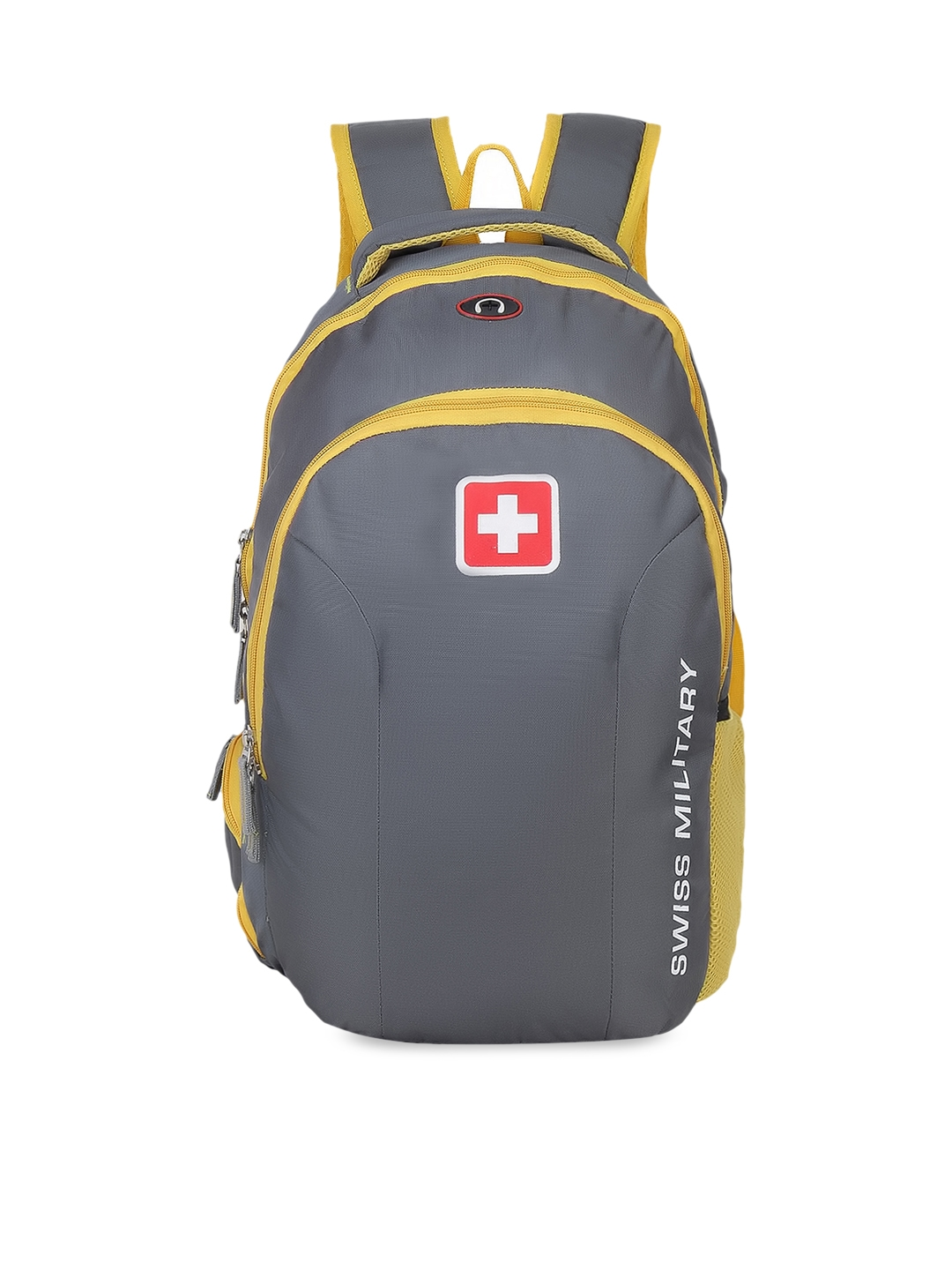 SWISS MILITARY Unisex Grey   Yellow Solid Laptop Backpack 25L