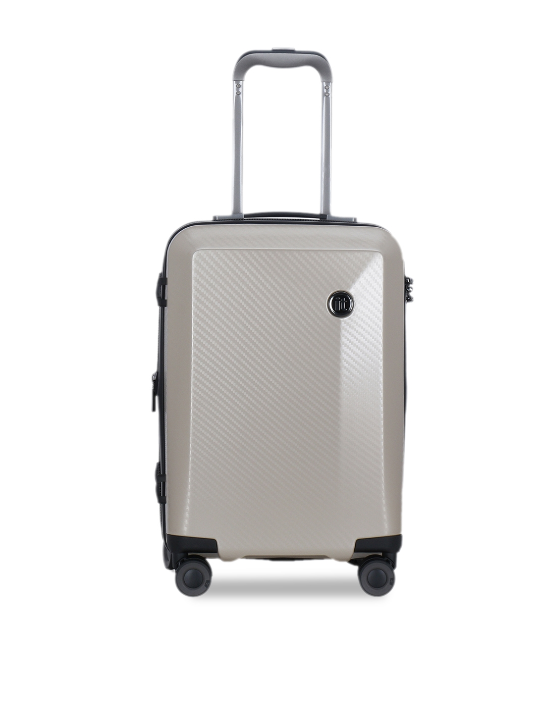IT luggage Unisex Brown Textured Confide Hard Sided Expandable Cabin Trolley Suitcase